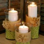 Spring Hurricane Vases/Burlap Rosettes