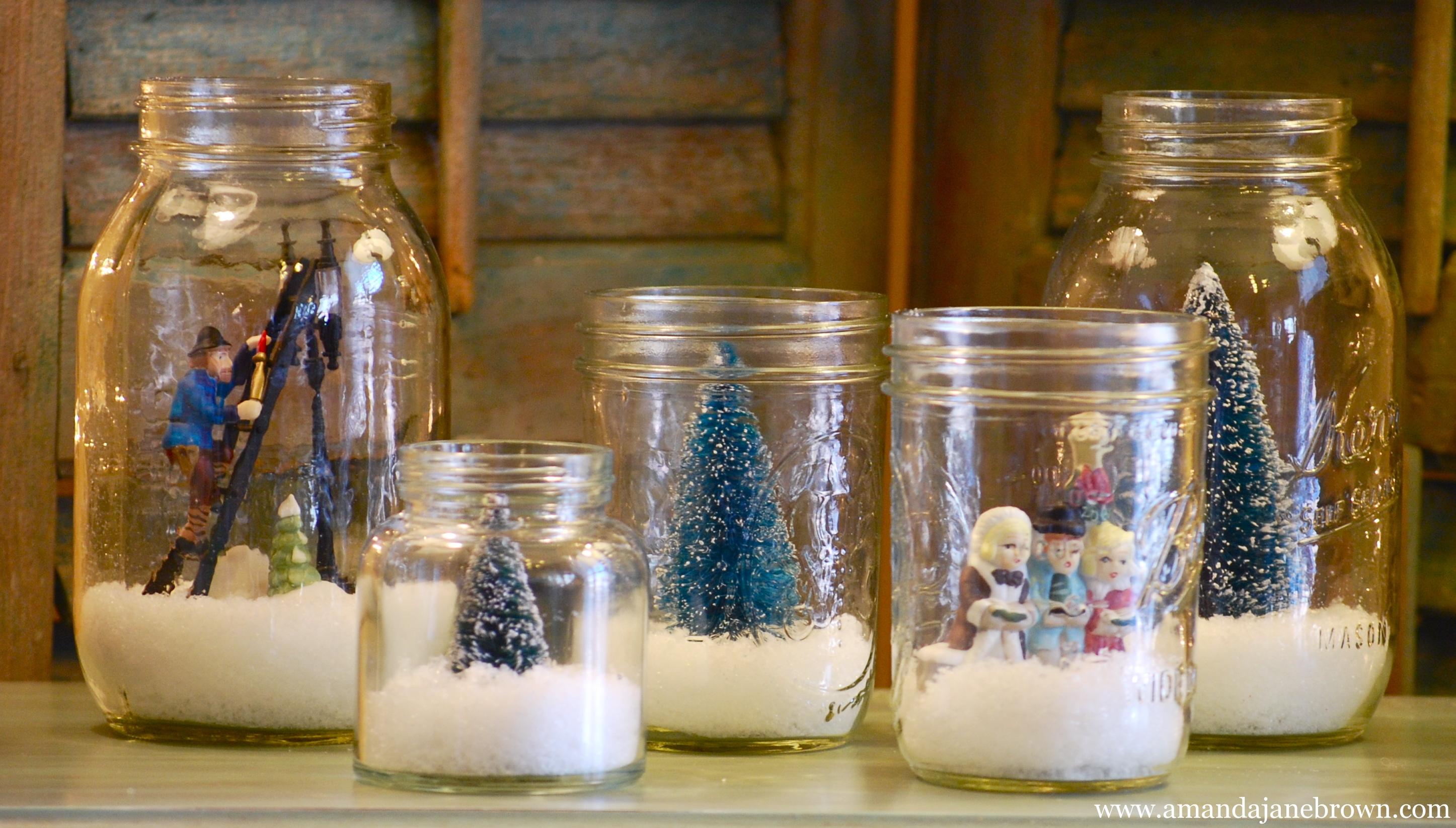 Diy snow globes amanda jane brown Idee deco table noel