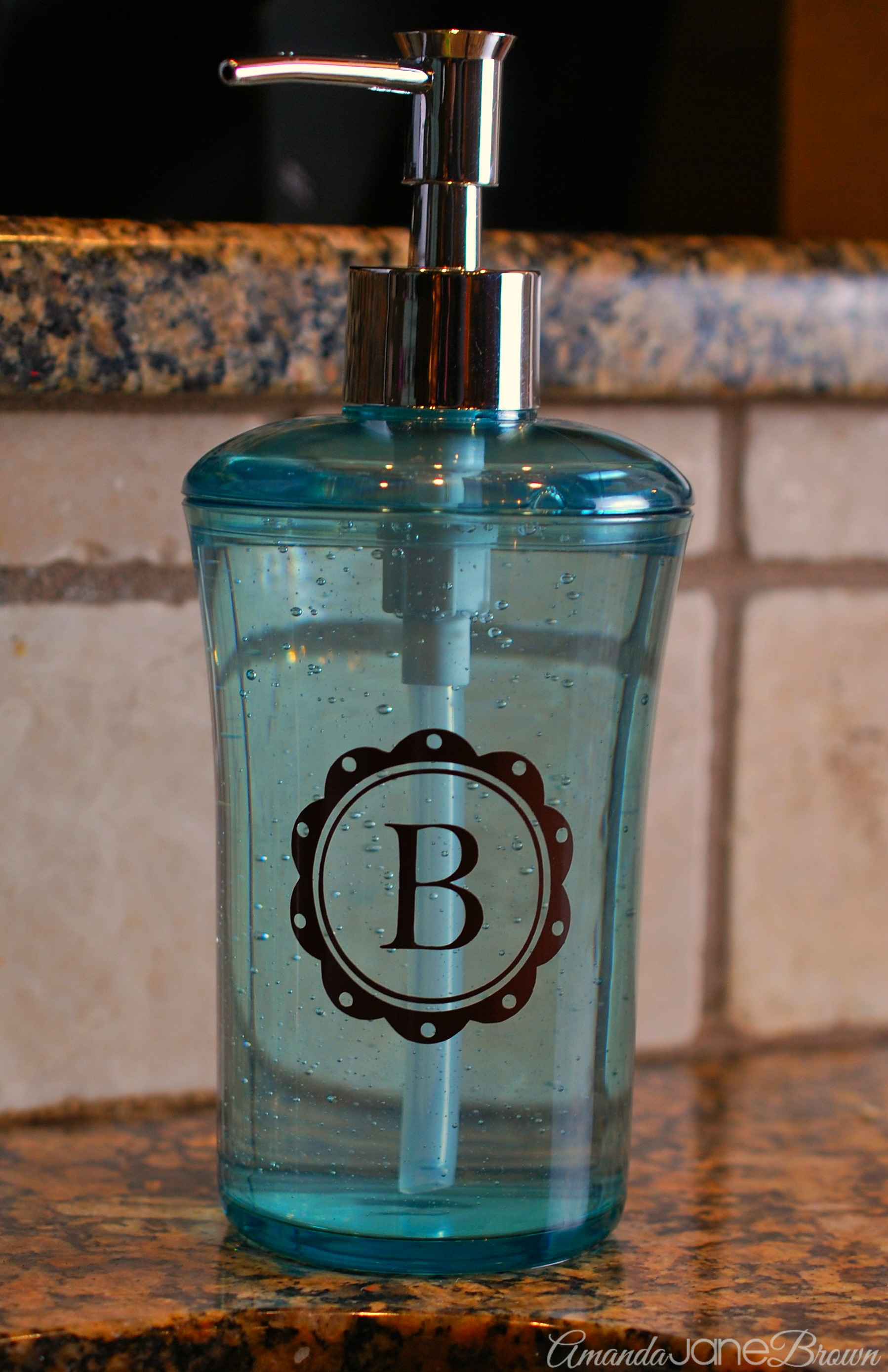 monogrammed soap dispenser-gift idea - amanda jane brown
