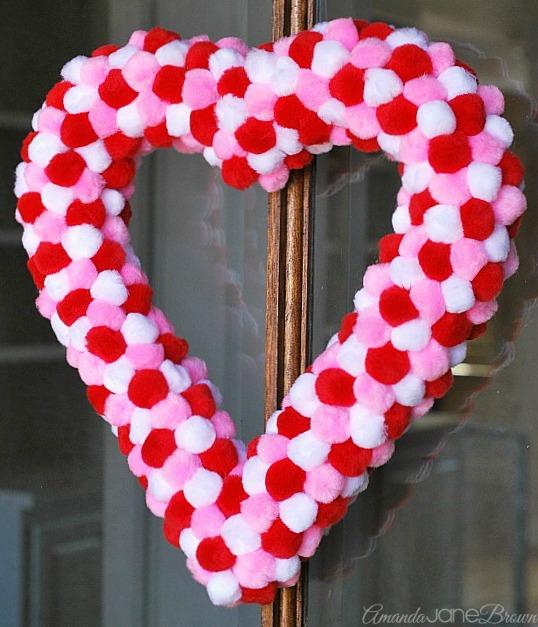 Pom Pom Heart Wreath Amanda Jane Brown